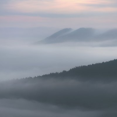Beskydy mountains in Mist